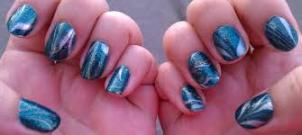 $4 Blue/green/gold and glitter - Water Marble Nail Art - A Sparkly ...