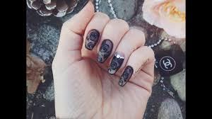 Unghie con rose nere effetto velato _ black roses nail art ...