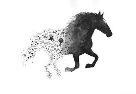 horse art print a3 black and white art wall art home decor large minimal