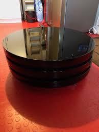 dwell triplo round black gloss swivel coffee table