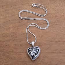 fl heart shaped sterling silver pendant necklace heart flower