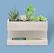 office planter boxes. Desktop Planter Box Concrete Small And Modern For Succulent  With Pen Holder Home Office Planter Boxes