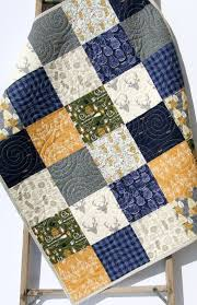quilt kit buffalo plaid navy blue woodland boy rustic gold gray buck forest buffalo check lumberjack plaid crib bedding project quilting