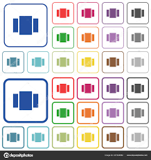 view carousel color flat icons rounded square frames thin thick stock vector