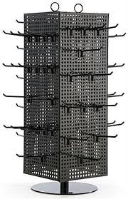 countertop pegboard display with black hooks steel