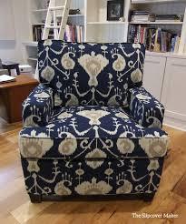 custom chair slipcover in magnolia home fashions java ikat navy blue