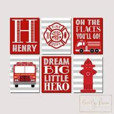 Fire Truck Nursery Wall Art, Fire Truck Decor <b>Canvas</b> or <b>Prints</b> ...