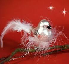 Details Zu Christbaumschmuck Christbaumkugel Glas Vogel Silber Mit Federn Nest Lauscha 11cm