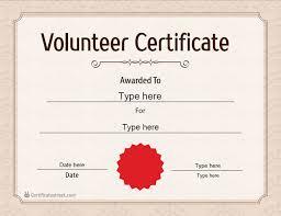 Volunteer Certificate Special Certificates Volunteer Certificates Certificatestreet Com