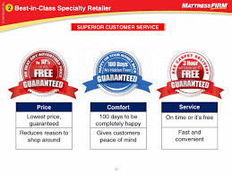 mattress firm ad. Best-in-Class Specialty Retailer 2 SUPERIOR CUSTOMER SERVICE Price Lowest Price, Guaranteed Reduces Reason To Shop Around Comfort 100 Days Be Completely Mattress Firm Ad