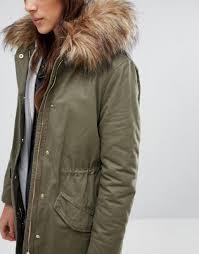 new look big faux fur parka coat dark khaki women coats new look boots ankle