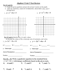 algebra 2 unit 3 test review for 1 and 2 graph the given quadratic and provide at least 3 points on the graph list the vertex axis of symmetry