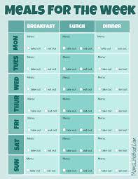 free menu planner free menu planner printable