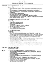 Client Services Analyst Resume Samples Velvet Jobs