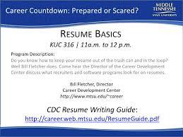 resume workshop mtsu career countdown career countdown prepared or scared