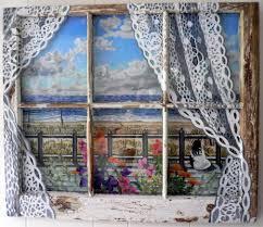 fire island beach acrylics on canvas board in old window frame