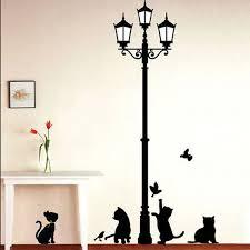 2pcs kids rooms diy wall stickers cats birds street light lamp art wall sticker home decor