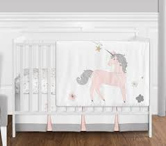 T Pink Grey And Gold Unicorn Baby Girl Crib Bedding Set Without Bumper