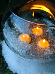 Fire And Ice Decorations Design Glass Bowl With Polished Glass Pebble Ice And Candles On A Winter 13