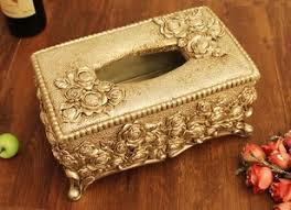 Decorative Tissue Boxes Antique Floral Flower Dresser Trinket Vanity Jewelry Casket Box 2