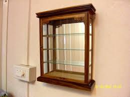 wall curio display vintage wood glass