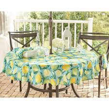 elrene lemon grove stain resistant indoor outdoor tablecloth with umbrella hole