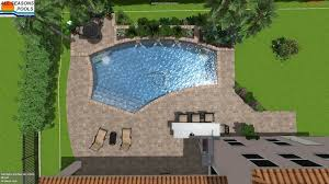 3D Model Pool With Waterfall And Steps 16