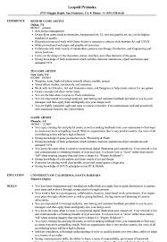 Artist Resumes Game Artist Resume Samples Velvet Jobs 12