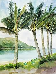 palm tree painting flapping palm trees by han choi printscapes