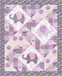 """Quilt Inspiration: Free pattern day: Baby quilts ! (part 1) & Elephant Pop quilt, 56 x 68"""", free pattern by Marinda Stewart for Michael  Miller Fabrics (PDF download) (includes elephant and flower templates) Adamdwight.com"""