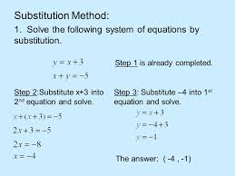 15 substitution method 1 solve the following system of equations