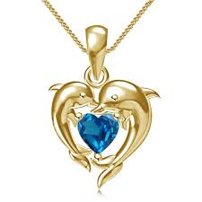 925 silver 14k gold plated heart shape crystal stone dolphin style pendant