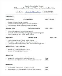 Chronological Resume Template What Is A Chronological Resume Format