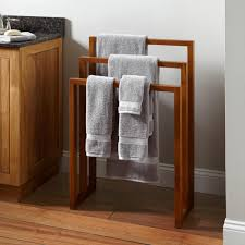 ... Hailey Teak Towel Rack For Bathroom Wall Design: Interesting Towel Rack  For Bathroom ...