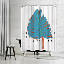 Artistic shower curtains Fine Art Blue Tropical Leaf By Pi Creative Art Shower Curtain Americanflat Blue Tropical Leaf By Pi Creative Art Shower Curtain Americanflat