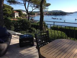 villa feet in the water with swimming pool on terrace overlooking the sea boulouris