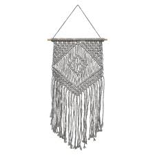 24 inch gray macrame wall hanging decor