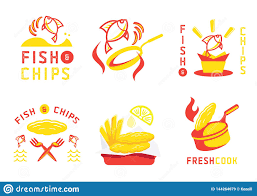 Fish And Chips Design Fish And Chip Badge Design And Illustration Stock Vector