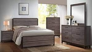 Amazon.com: Kings Brand - 6-Piece Antique Grey Wood Queen Size ...