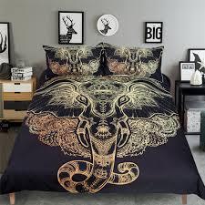tribal elephant bedding 3pcs duvet cover set digital print multicolor twin