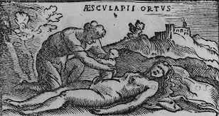 Resultado de imaxes para mito de apolo coronis y asclepio