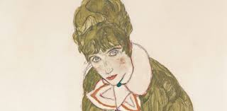 Egon Schiele, Edith with Striped Dress, Sitting