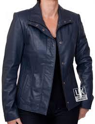las navy blue leather jacket sapphire open