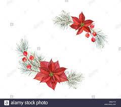 Aquarell Blumensträuße Von Weihnachten Sterne Hand Gemalte