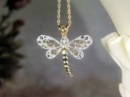 dragonfly necklace 14k yellow gold 16 inch chain 10k white and yellow gold pendant genuine diamond filigree dragonfly vintage necklace