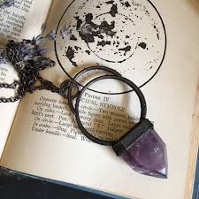 large amethyst pendant crystal necklace electroformed copper crystal necklace big purple stone statement necklace