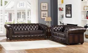 albany dark brown chesterfield sofa loveseat in 100 genuine leather