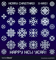 Different Designs Of Snowflakes Christmas Snowflakes Designs In Pixel Style