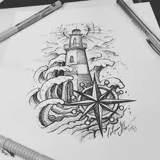 тату эскиз маяк эскиз нарисован за 1 час и 40 минут лайнерами