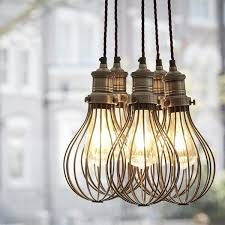 caged lighting. vintage balloon cage pendant light dark pewter caged lighting d